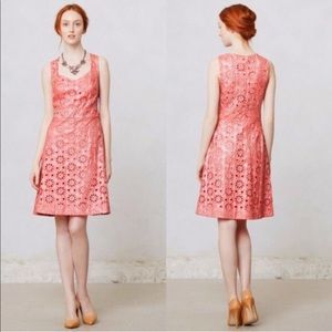 Anthropologie Maeve Sparkly Coral Eyelet Dress